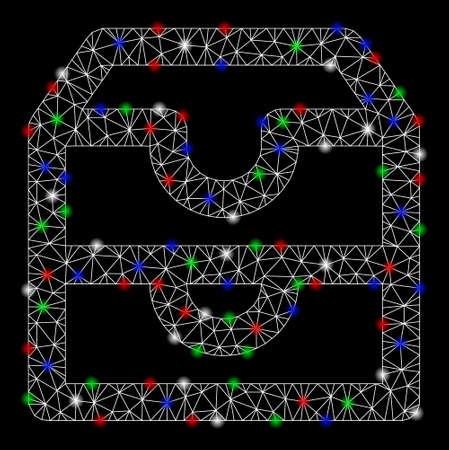 Caselle account in mesh luminose con effetto abbagliante. Maglia triangolare di carcassa di filo bianco in formato vettoriale su sfondo nero. Maglia astratta 2d progettata con griglia poligonale, piccolo cerchio, Vettoriali