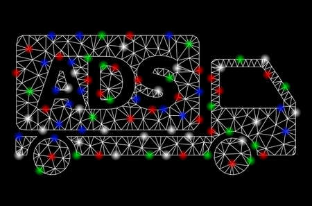 Bright mesh advertisement car with glare effect. White wire frame polygonal mesh in vector format on a black background. Abstract 2d mesh created from polygonal grid, points, colored glare spots.