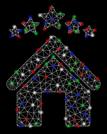 Bright mesh apartment stars with glare effect. White wire frame triangular network in vector format on a black background. Abstract 2d mesh designed with triangular lines, spheric points,