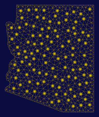 Bright yellow mesh Arizona State map with lightspot effect. Wire frame polygonal mesh in vector format on a dark black background. Abstract 2d mesh designed with polygonal grid, points,