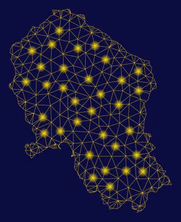 Bright yellow mesh Cordoba Spanish Province map with glare effect. Wire frame polygonal mesh in vector format on a dark black background. Abstract 2d mesh designed with polygonal grid,