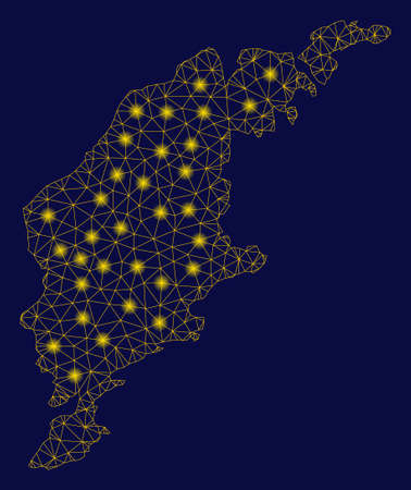 Bright yellow mesh Gotland Island map with glare effect. Wire carcass polygonal mesh in vector format on a dark black background. Abstract 2d mesh built from polygonal grid, round dots, Illustration