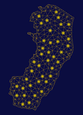 Bright yellow mesh Espirito Santo State map with glow effect. Wire frame triangular mesh in vector format on a dark black background. Abstract 2d mesh designed with triangular lines, dots,