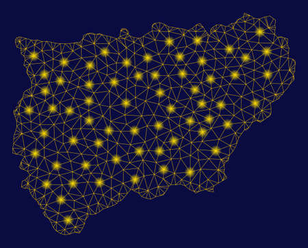 Bright yellow mesh Jaen Spanish Province map with glow effect. Wire frame polygonal mesh in vector  format on a dark black background. Abstract 2d mesh built from polygonal grid, dots, 일러스트