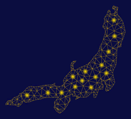 Bright yellow mesh Honshu Island map with lightspot effect. Wire frame triangular mesh in vector format on a dark black background. Abstract 2d mesh designed with triangular lines,