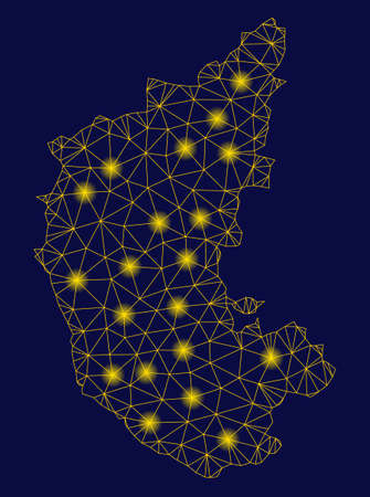 Bright yellow mesh Karnataka State map with lightspot effect. Wire frame polygonal mesh in vector format on a dark black background. Abstract 2d mesh designed with polygonal grid, small circle, Illustration