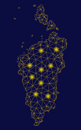 Bright yellow mesh Krasnoyarskiy Kray map with glare effect. Wire frame triangular mesh in vector format on a dark black background. Abstract 2d mesh designed with polygonal grid, round dots,