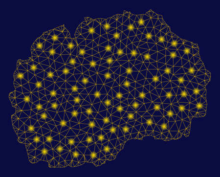 Bright yellow mesh Macedonia map with lightspot effect. Wire carcass polygonal mesh in vector  format on a dark black background. Abstract 2d mesh designed with polygonal grid, points, Illustration