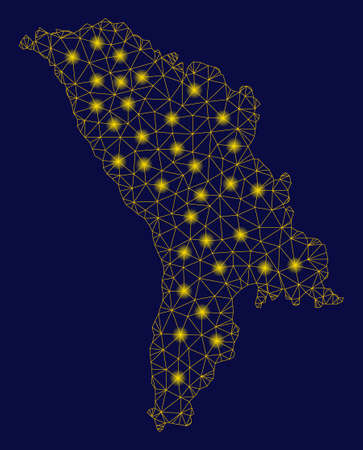 Bright yellow mesh Moldova map with glow effect. Wire frame triangular mesh in vector  format on a dark black background. Abstract 2d mesh designed with triangular lines, dots,