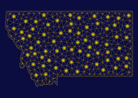 Bright yellow mesh Montana State map with lightspot effect. Wire frame polygonal mesh in vector  format on a dark black background. Abstract 2d mesh built from polygonal grid, dots,