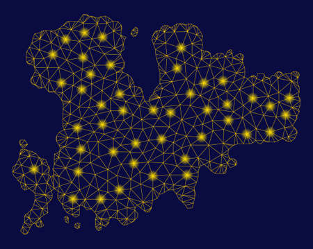 Bright yellow mesh Mykonos Island map with glow effect. Wire frame polygonal mesh in vector  format on a dark black background. Abstract 2d mesh built from polygonal grid, dots,
