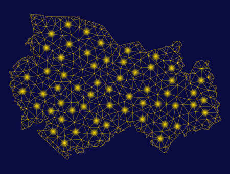 Bright yellow mesh Novosibirsk Region map with glare effect. Wire frame polygonal mesh in vector  format on a dark black background. Abstract 2d mesh built from polygonal grid, small circle,  イラスト・ベクター素材