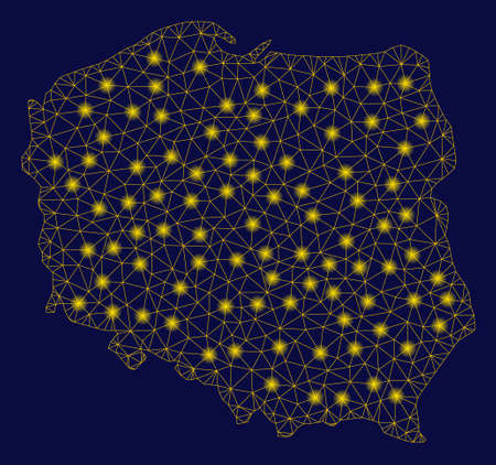 Bright yellow mesh Poland map with glare effect. Wire frame polygonal mesh in vector  format on a dark black background. Abstract 2d mesh designed with triangles, small circle,