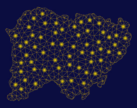 Bright yellow mesh Salamanca Province map with lightspot effect. Wire frame triangular mesh in vector  format on a dark black background. Abstract 2d mesh designed with triangular lines, points,