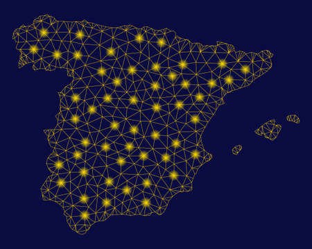 Bright yellow mesh Spain map with glare effect. Wire carcass polygonal mesh in vector format on a dark black background. Abstract 2d mesh designed with polygonal grid, dots,