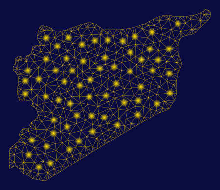 Bright yellow mesh Syria map with glare effect. Wire frame triangular network in vector  format on a dark black background. Abstract 2d mesh designed with triangular lines, points,
