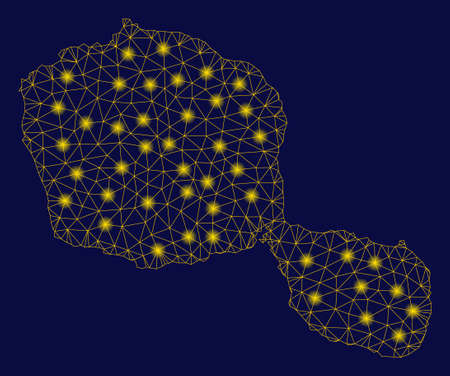 Bright yellow mesh Tahiti Island map with glare effect. Wire frame triangular network in vector  format on a dark black background. Abstract 2d mesh designed with triangles, round dots,