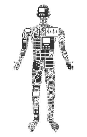 Human collage icon created for bigdata and computing purposes. Vector human mosaics are united from computer, calculator, connections, wifi, network, interface symbols into abstract collage. Çizim