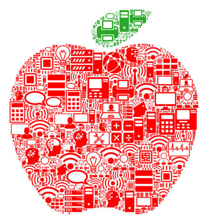 Apple composition icon organized for bigdata and computing illustrations. Vector apple mosaics are organized from computer, calculator, connections, wifi, network,