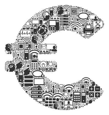 Icône de collage euro organisée pour les illustrations bigdata et informatiques. Les mosaïques vectorielles Euro sont organisées à partir de l'ordinateur, de la calculatrice, des connexions, du wi-fi, du réseau,