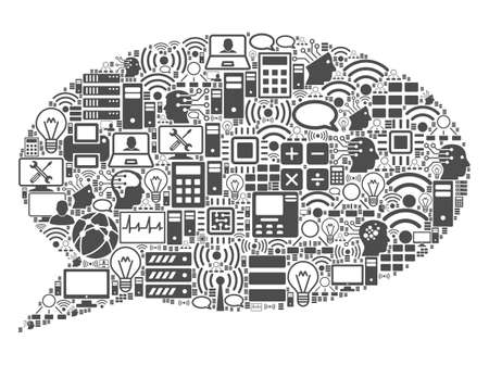 Message Cloud composition icon created for bigdata and computing illustrations. Vector message cloud mosaics are composed from computer, calculator, connections, wi-fi, network,