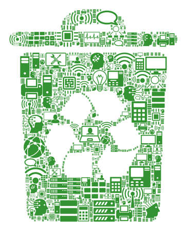 Recycle Bin composition icon created for bigdata and computing illustrations. Vector recycle bin mosaics are united from computer, calculator, connections, wi-fi, network,