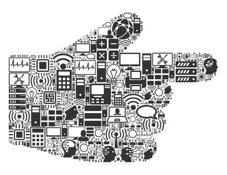 Right Index Finger composition icon created for bigdata and computing illustrations. Vector right index finger mosaics are combined from computer, calculator, connections, wi-fi, network, Archivio Fotografico - 123613296