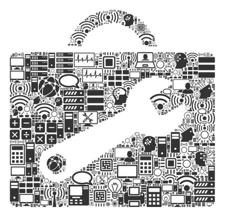 Tool Case composition icon organized for bigdata and computing illustrations. Vector tool case mosaics are organized from computer, calculator, connections, wi-fi, network,