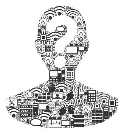 Unknown Person collage icon combined for bigdata and computing illustrations. Vector unknown person mosaics are combined from computer, calculator, connections, wi-fi, network, Illustration