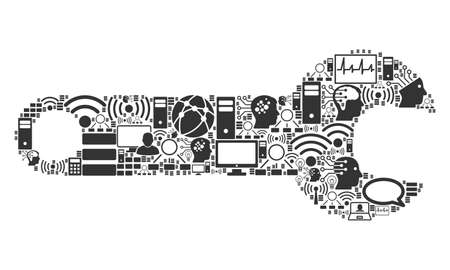 Spanner mosaic icon organized for bigdata and computing illustrations. Vector spanner mosaics are organized from computer, calculator, connections, wi-fi, network, Stock Illustratie