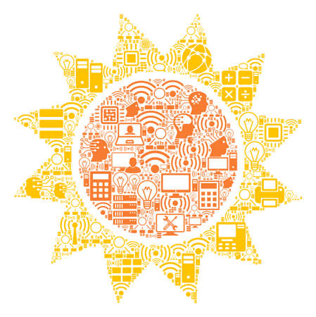 Sun collage icon created for bigdata and computing purposes. Vector sun mosaics are organized from computer, calculator, connections, wi-fi, network, interface elements into abstract collage. Illustration