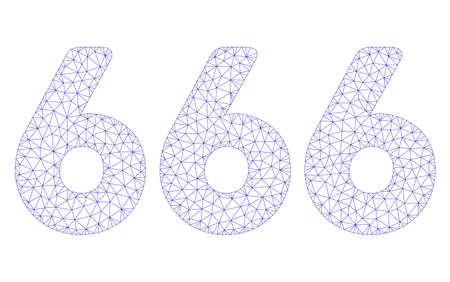 Mesh 666 digits text polygonal 2d illustration. Abstract mesh lines and dots form triangular 666 digits text. Wire frame 2D polygonal line network in vector format isolated on a white background.