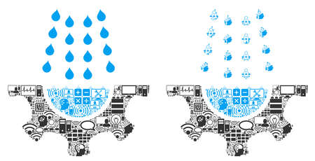 Water Shower Service Gear collage icon created for bigdata and computing purposes. Vector water shower service gear mosaics are combined from computer, calculator, connections, wi-fi, network,