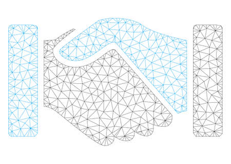 Mesh acquisition handshake polygonal 2d illustration. Abstract mesh lines and dots form triangular acquisition handshake. 일러스트