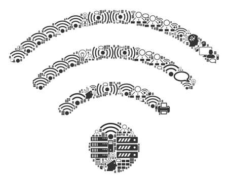 WiFi Source composition icon combined for bigdata and computing illustrations. Vector WiFi source mosaics are organized from computer, calculator, connections, wifi, network,
