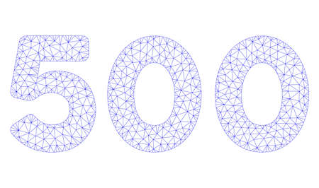 Mesh 500 digits text polygonal 2d illustration. Abstract mesh lines and dots form triangular 500 digits text. Wire frame 2D polygonal line network in vector format isolated on a white background.