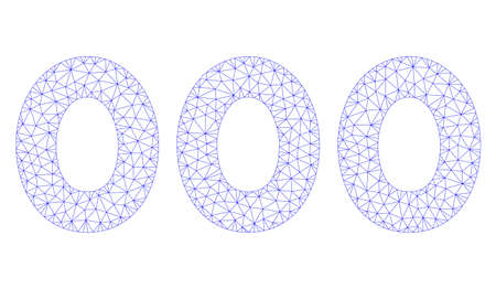 Mesh 000 digits text polygonal 2d illustration. Abstract mesh lines and dots form triangular 000 digits text. Wire frame 2D polygonal line network in vector format isolated on a white background.
