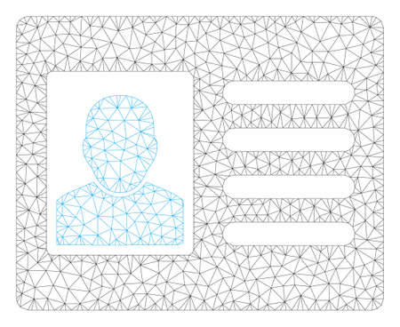 Mesh account card polygonal 2d illustration. Abstract mesh lines and dots form triangular account card. Wire frame 2D polygonal line network in vector format isolated on a white background. Illustration