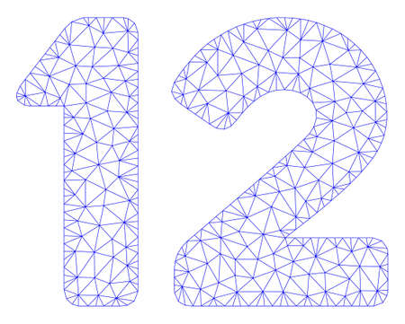 Mesh 12 digits text polygonal icon illustration. Abstract mesh lines and dots form triangular 12 digits text. Wire frame 2D polygonal line network in vector format isolated on a white background. Vektorové ilustrace