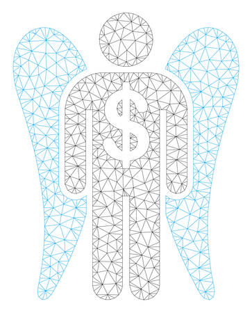 Mesh angel investor polygonal 2d illustration. Abstract mesh lines and dots form triangular angel investor. Wire frame 2D polygonal line network in vector format isolated on a white background. Illustration