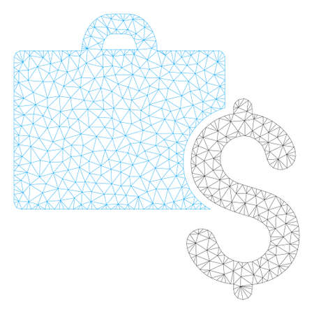 Mesh accounting polygonal 2d illustration. Abstract mesh lines and dots form triangular accounting. Wire frame 2D polygonal line network in vector format isolated on a white background.