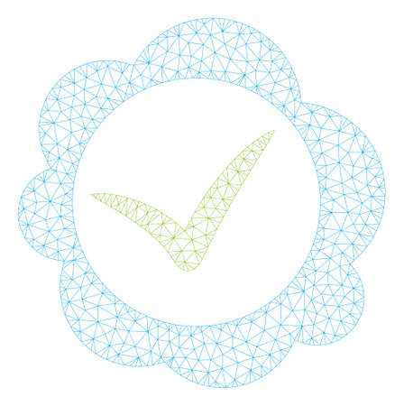 Mesh approved stamp polygonal icon illustration. Abstract mesh lines and dots form triangular approved stamp. Wire frame 2D polygonal line network in vector format isolated on a white background.
