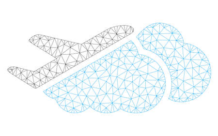 Mesh airplane over clouds polygonal 2d illustration. Abstract mesh lines and dots form triangular airplane over clouds.