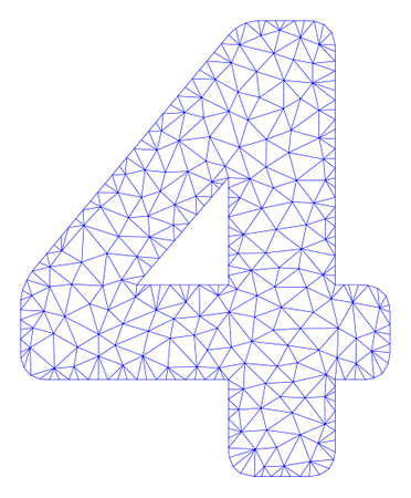 Mesh 4 digit polygonal 2d illustration. Abstract mesh lines and dots form triangular 4 digit. Wire frame 2D polygonal line network in vector format isolated on a white background.