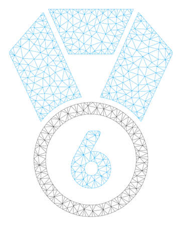 Mesh 6th place medal polygonal icon illustration. Abstract mesh lines and dots form triangular 6th place medal. Wire frame 2D polygonal line network in vector format isolated on a white background. Ilustração