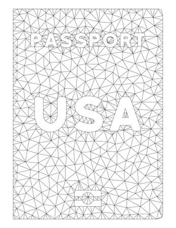 Mesh American passport polygonal icon illustration. Abstract mesh lines and dots form triangular American passport.