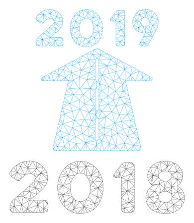 Mesh 2019 future road polygonal icon illustration. Abstract mesh lines and dots form triangular 2019 future road. Wire frame 2D polygonal line network in vector format isolated on a white background. Illustration