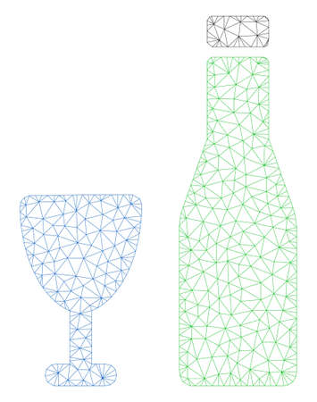 Mesh alcohol polygonal icon illustration. Abstract mesh lines and dots form triangular alcohol. Wire frame 2D polygonal line network in vector format isolated on a white background.
