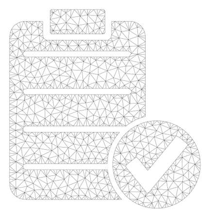 Mesh approve test polygonal icon illustration. Abstract mesh lines and dots form triangular approve test. Wire frame 2D polygonal line network in vector format isolated on a white background.