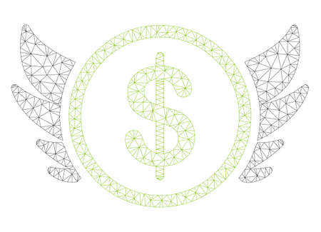 Mesh angel investment polygonal icon illustration. Abstract mesh lines and dots form triangular angel investment. Wire frame 2D polygonal line network in vector format isolated on a white background.